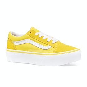 Vans Old Skool Platform Shoes - Vibrant Yellow True White
