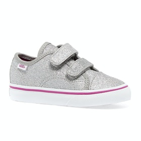 Vans Toddler Style 23 V Kids Shoes - (Glitter Textile) Silver True White
