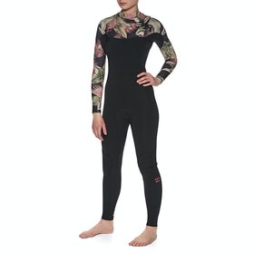Billabong 3/2mm Furnace Comp Chest Zip Womens Wetsuit - Black Palms