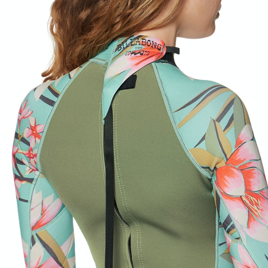 Billabong 2mm Spring Fever Back Zip Long Sleeve Shorty Womens Wetsuit