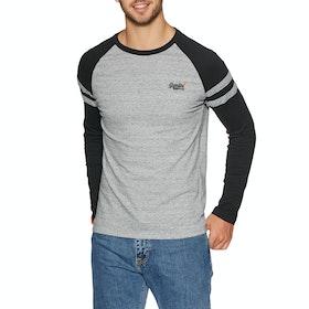 Superdry Orange Lable Softball Ringer Long Sleeve T-Shirt - Collective Dark Grey Grit