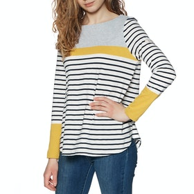Joules Harbour Light Swing Womens Long Sleeve T-Shirt - Cream Navy Stripe
