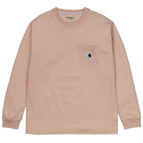 Carhartt Pocket Ladies Long Sleeve T-Shirt - Powdery / Ash Heather