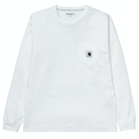 Carhartt Pocket 長袖 T シャツ - White / Ash Heather