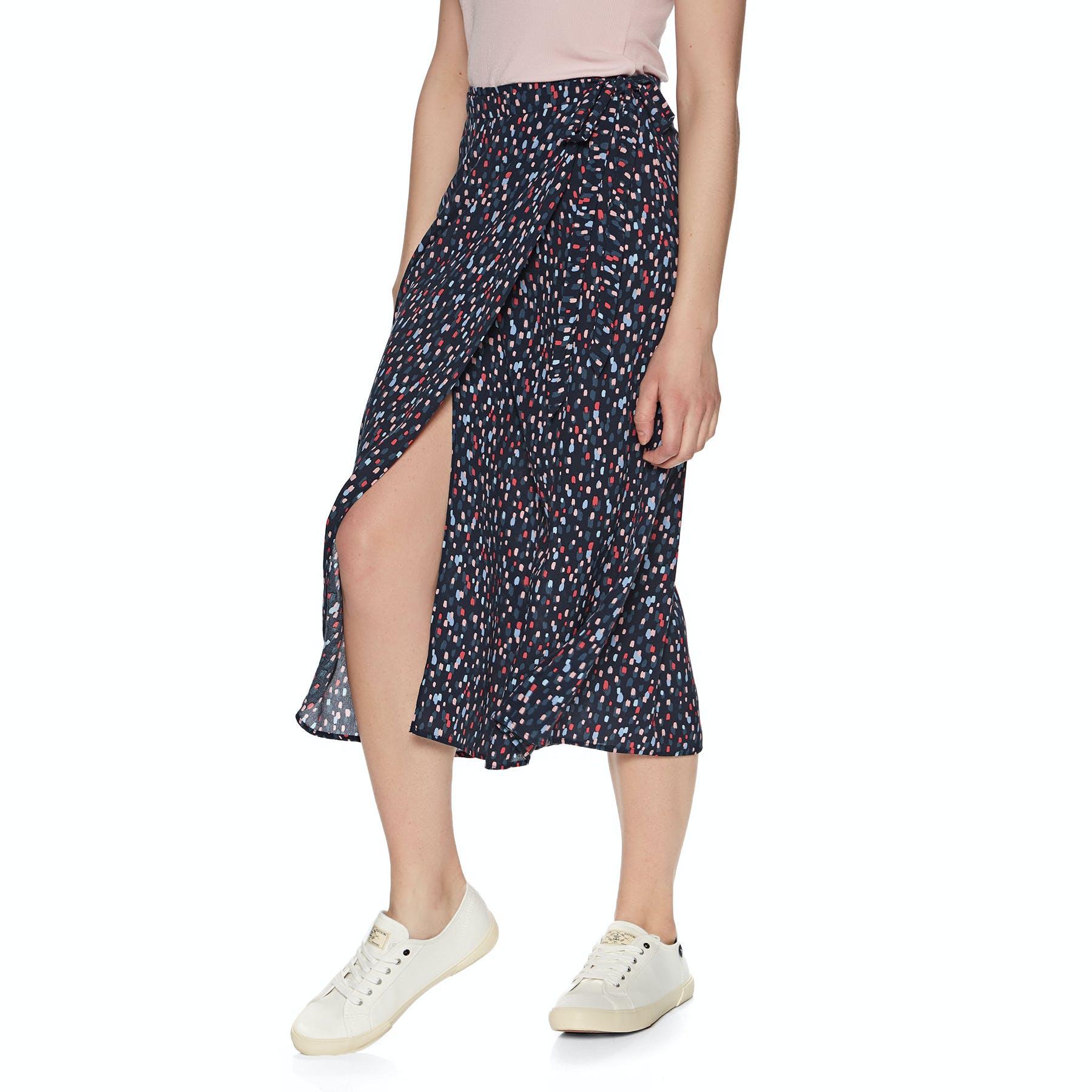 NAVY DASH SPOT Joules Womens Alissa Tie Side Wrap Skirt