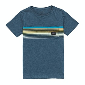 Quiksilver Slab Pocket Boys Short Sleeve T-Shirt - Majolica Blue Heather