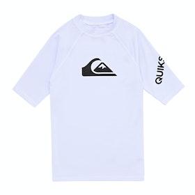 Quiksilver All Time Short Sleeve Boys Rash Vest - White
