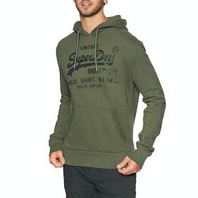 Superdry Vintage Logo Shirt Shop Bonded Hood Pullover Hoody - Chive