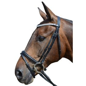 Hy Diamond Flash Snaffle Bridle - Black