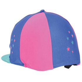Hy Zeddy Three Tone Lycra Hat Cover - Flamingo Pink Turquoise Cobalt Blue