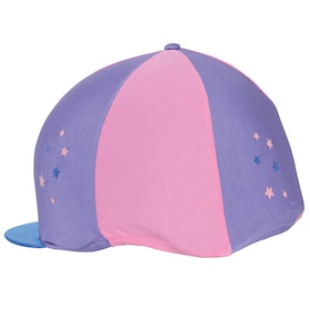 Hy Zeddy Three Tone Lycra Hat Cover - Floral Lavender Pink Powder Petrol Blue