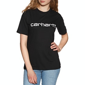 Carhartt Script Womens Short Sleeve T-Shirt - Black / White