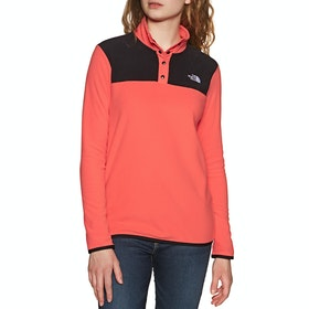 Polaire Femme North Face Tka Glacier Snap Neck Pullover - Cayenne Red TNF Black