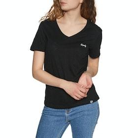 Superdry Orange Lable Essential Vee Womens Short Sleeve T-Shirt - Black