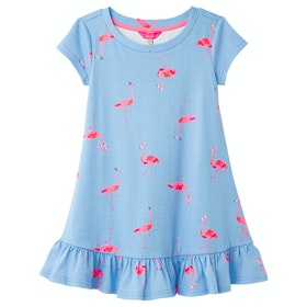 Joules Allie Girl's Dress - Blue Flamingoes