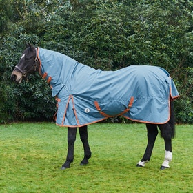 Derby House Pro 50g Medium Lite Combo Turnout Rug - Faded Denim Living Coral