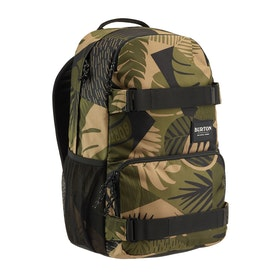 Burton Treble Yell Skate Backpack - Martini Olive Woodcut Palm