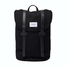 Sandqvist Stig Backpack - Black With Black Leather