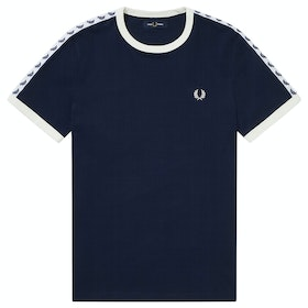 Fred Perry Taped Ringer Kurzarm-T-Shirt - Carbon Blue