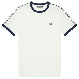 Fred Perry Taped Ringer Kurzarm-T-Shirt - Snow White