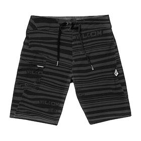 Volcom Logo Stripe Mod Boys Boardshorts - Black