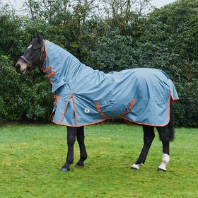 Derby House Pro Lightweight Combo Turnout Rug - Faded Denim Living Coral