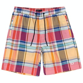 Fred Perry Madras Check Swim Shorts - Red