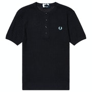 Fred Perry Re Issues Texture Knit Button Neck Knits