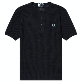 Fred Perry Re Issues Texture Knit Button Neck Knits - Navy