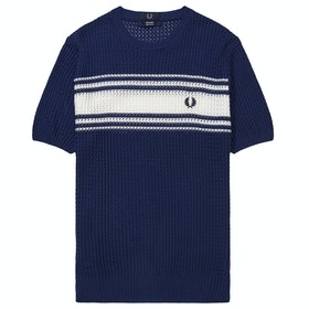 Fred Perry Re Issues Striped Texture Knit Crew Neck Short Sleeve T-Shirt - French Navy