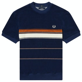 Fred Perry Re Issues Striped Towelling Short Sleeve T-Shirt - French Navy