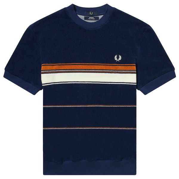 Fred Perry Re Issues Striped Towelling Short Sleeve T-Shirt