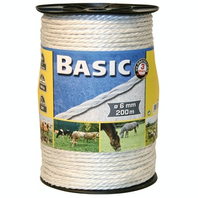 Corral Basic Rope with Steel Wires 200m for Electric Fencing - White