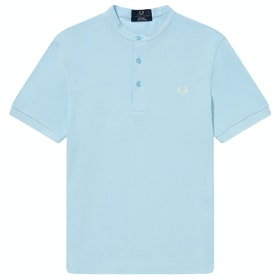 Fred Perry Re Issues Collarless Pique Short Sleeve T-Shirt - Light Blue