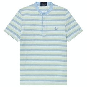 Fred Perry Re Issues Collarless Striped Pique Shirt - Powder Blue