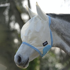 Weatherbeeta Comfitec Essential Mesh Fly Mask - Light Taupe Light Blue