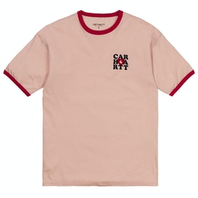 Carhartt Ringer Heart Damen Kurzarm-T-Shirt - Powdery