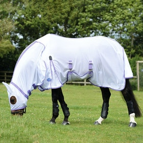 Weatherbeeta Comfitec Airflow Hood and Ear Combo Neck Fly Rug - White Purple