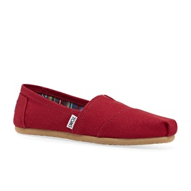 Toms Classic Alpargata Womens Slip On Shoes - Red