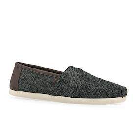 Toms Classics Slip On Shoes - Charcoal Herringbone Synthetic Trim