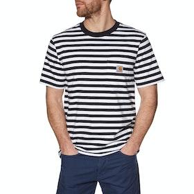 Carhartt Scotty Pocket Short Sleeve T-Shirt - Scotty Stripe, Dark Navy / White