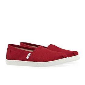 Toms Classic Youth Kid's Slip On Trainers - Youth Red Canvas
