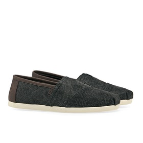 Toms Classics Men's Slip On Trainers - Charcoal Herringbone Synthetic Trim