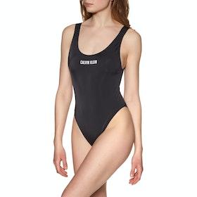 Calvin Klein Basic Logo Scoop One Piece Women's Swimsuit - Pvh Black