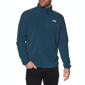 North Face 100 Glacier Quarter Zip , Fleece - Blue Wing Teal TNF White