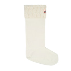Hunter Stitch Cable Boot Welly Socks - Hunter White
