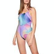 Nike Swim Spectrum Lace Up Tie Back One Piece Swimsuit