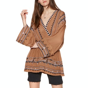 Top Donna Free People Saffron Embroidered Tunic - Terracotta