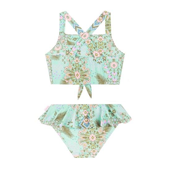 Seafolly Mini Me Folk Flora Tie Front Tankini Girls Swimsuit