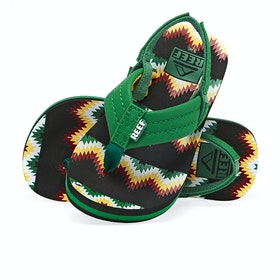 Reef Ahi Kids Sandals - Black Green Blnkt